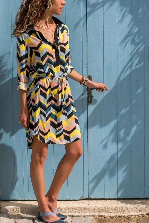 women long sleeve turn down collar dress flroal print dress autumn winter sashes loose brand dress 2 m