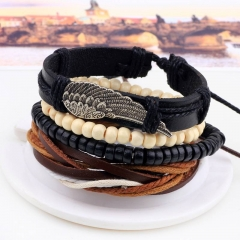 New Angel Wing Hand-ornamented Wood Bead Braided Bead Diy Bracelet Combination Set Bracelet for Male mul-ti none