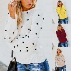 o neck long sleeve sweater autumn winter dot knitted sweater casual leisure brand christmas sweater wine red l