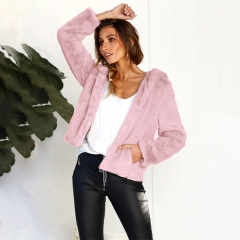 autumn winter long sleeve hooded women coat casual leisure brand tops pink S