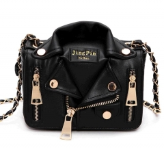 pu leather women bag chain rivets sloping shoulder bags jackets sytle shoulder bag black normal
