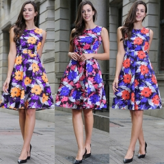 floral print dot dress o neck sleeveless dress vintage summer casual work office formal dress 8 l