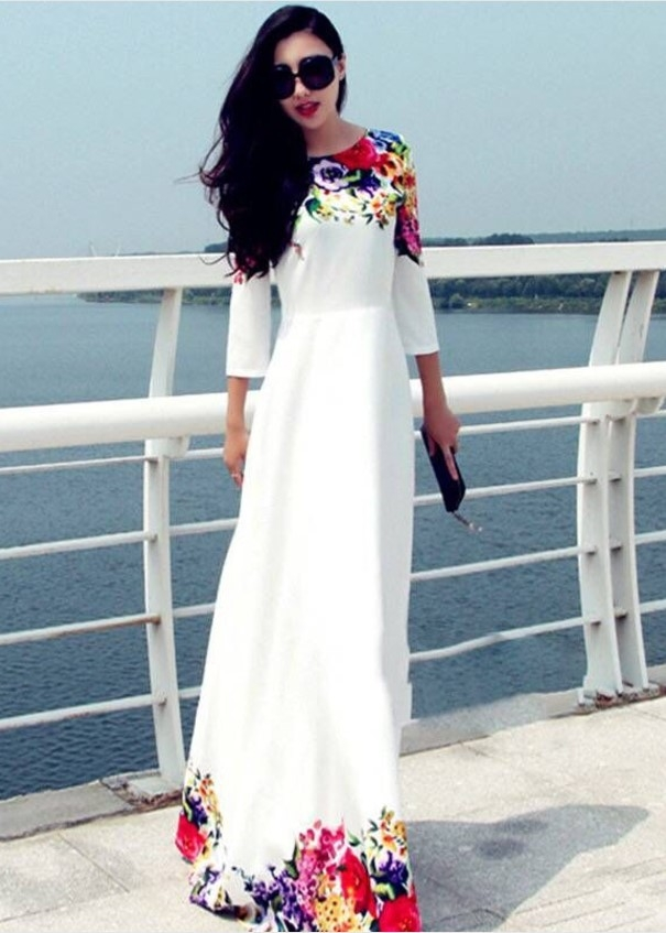 f37157eb9d ... long holiday casual seaside chiffon dress white s: Product No: 610766.  Item specifics: Brand: image. image image image image image. material:  chiffon