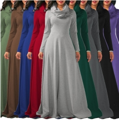 women  autumn winter dress  pure color modal dress plus size elegant style long sleeve maxi dress black l