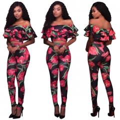 Women 2pcs/set sexy print shot tops slash neck pants two piece set leisure casual women sets brand mul-ti s