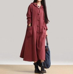Women Long Sleeve Single Breasted V-neck coat Lady linen Coat Casual Loose coat Plus Size wine red s