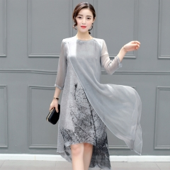 Women Retro Cotton Linen Long Dresses Irregular Ink Print Casual O-neck loose Plus Size Slim Dress grey s