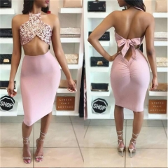women sexy backless halter Sequin slim dress set evening party two piece set 2 piece set suit pink s