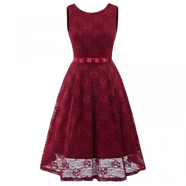 e663731c4718 Women chic o-neck sleeveless bow lace dress elegant vintage dress ...