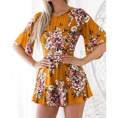 women autumn spring playsuit o neck long sleeve backless playsuit holiday flroal print playsuit 1 s