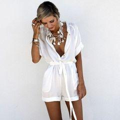 women v neck short sleeve mini playsuit sashes casual short playsuit night evening party playsuit white s