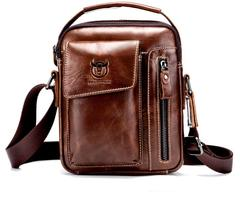 cbd949a72e3 Cattle Captain Leather First Layer Leather Men's One-Shoulder Genuine  Leather Shoulder Bag Vertical brown