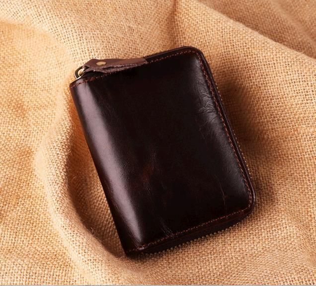 03a0662e19fb RFID anti-magnetic card wrapped cowhide multi-card wallet bag Retro Leather  men's pocket wallets coffee one size