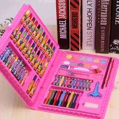 86 IN 1 Kids Painting Gifts Student Stationery Box Art Learning Watercolor Brush Stationery Set pink one size