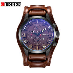 CURREN Men's leisure business quartz watch leather wristband watch black black brown