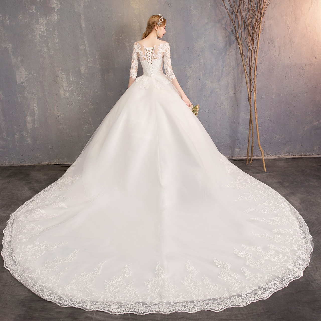 Long Sleeved Wedding Dresses.Wedding Dress New Long Sleeved Bride Princess Dreamlike Tail Shadow Builder Wedding Dress White S