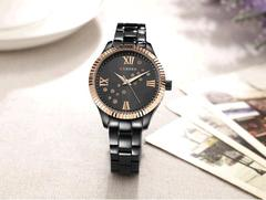 Fashion Curren Women Quartz Watch Crystal Dial Female Wristwatch black