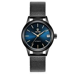 Tevise Automatic Mechanical Watch Waterproof Calendar Watch black