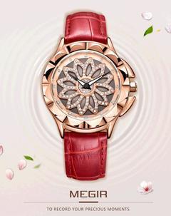 MEGIR MEGIR Top Luxury Brand Watch Quartz Watches Waterproof Stainless Steel Wristwatch For Female red