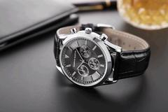 Men Watch Wrist Leather Band Quartz Watch black