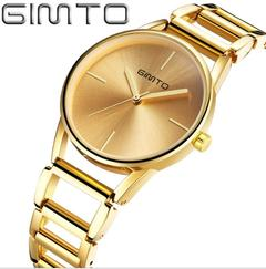 Fashion Women Gold Bracelet Hollow Steel Dress Quartz Watch gold