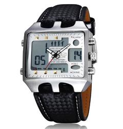 Classic Quartz Wrist Watch Digital Men's Waterproof silver