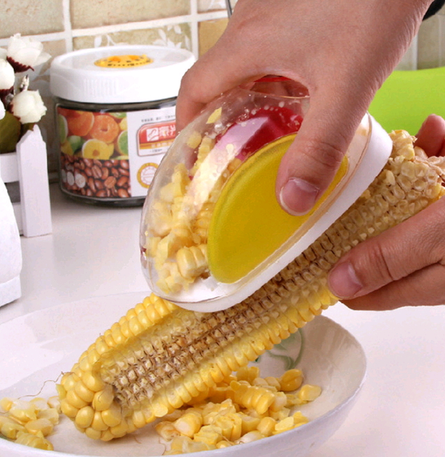 Corn Stripper cutter Corn shaver Peeler Cooking tools Kitchen Cob Remover yellow one size