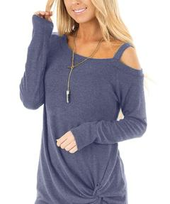 Womens Fashion Casual Loose Long Sleeved T-shirts Cold Off Shoulder Solid Color Blouses Tunic Top blue s