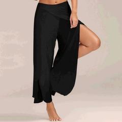Fashion women's yoga pants casual loose trousers waist chiffon silk pants wide leg pants black s