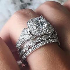 Princess Cut Jewelery 3 In 1 Engagement Ring Rings Set Princess Rings 10ct Cz Rings silver 6