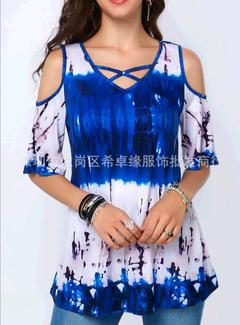 Women's Fashion Short Sleeve Tunic Tops Ladies Sexy V-neck Print Plus Size S-5XL Tops Off Shoulder blue s