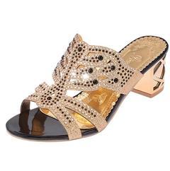 New Summer Women Shoes High Heel Sandals Casual Sandals Leather Rhinestones Peep Toe black 35