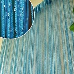 New 200cm*100cm Fly Screen Fringe Tassel Curtain String Sparkle Curtains Room Door Window Decor blue one size