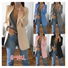 Fashion Slim Blazers Women Autumn Suit Jacket Female Work Office Lady Suit Pocket Business Notched rose red 5XL