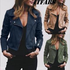Women Jacket Turn-down Collar Zipper Suede Bomber Jacket Spring Autumn Fashion Classic Moto Biker green 2xl