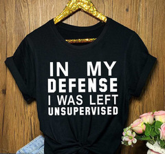Women Casual Loose T-shirt O-Neck Short-sleeved Printed Letter Top IN MY DEFENSE Tshirt Plus Size black s