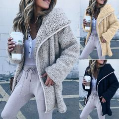 New Womens Ladies Plus Size Teddy Coat Winter Cardigan Overcoat Outerwear Jacket grey xl