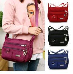 Women Waterproof Single-shoulder Messenger Crossbody Bag Nylon Purse Travel Lady rose red normal