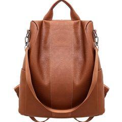 Women pu Leather Anti-Theft Rucksack Backpack School Shoulder Bag Black/Brown brown one size