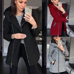 Winter Women's Highcollar Zipper Fleece Long Sleeved Casual Pocket Jacket Autumn Plus Size grey 5xl