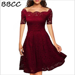 New Fashion Woman Short Sleeved Lace Sexy Dress Off Shoulder Strapless Slash  Party Office Dresses black s