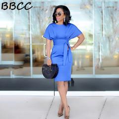New Woman Summer Round Collar Elegant Dress Slim Sexy Hight Wasit Fit Office Lady Bandage Dresses black s