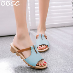 Crazy Price Reduction Women Flat Sandal  One-word Sandals Comfortable Non-Slip Shoes slippers blue 38