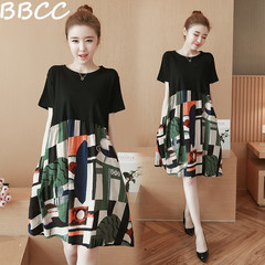 Promotions Low Price Summer Dress Loose Fat Short Sleeve Women Medium Long Loose Dresses black l(40-50kg)
