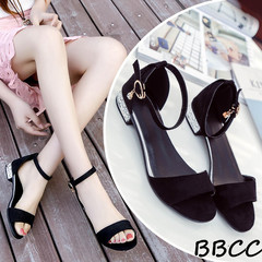 Good Quality and Low Price Women Summer shoes ladies Cow Suede Sandals   Buckle Comfortable Shoes black 35