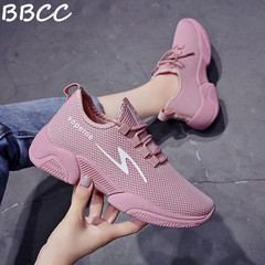 Explosion Promotion Women's Shoes Casual Sneaker Stretch Fabric Ladies Gym Shoes Mesh Lace-up pink 41