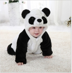 Flannel monolayer during the spring and autumn panda baby clothing white 80cm