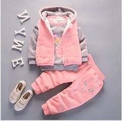 Children's winter pleuche suit up pink 80cm