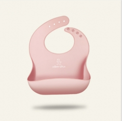 Cartoon waterproof silicone baby bib pink As shown in figure