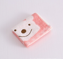 Bamboo fiber towel cartoon baby bear baby washing towel red as shown in figure